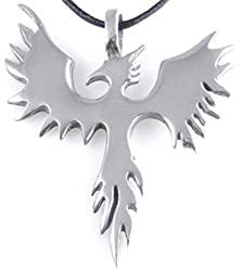 Dan Jewelers Phoenix Bird Firebird Pewter Pendant Necklace