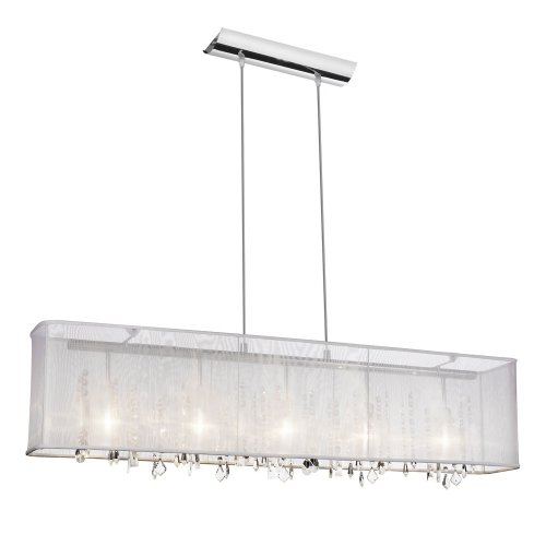 Dainolite 85303A-PC-CRY-44710-119 5-Light Crystal Chandelier with Rectangular Organza Shade for 85303A, Polished Chrome-White