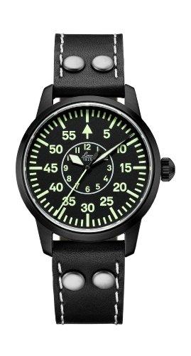 Laco 1925 861801 - Reloj analógico automático para mujer, correa de cuero color negro