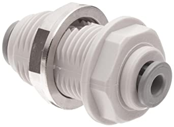 Celcon Push-to-Connect Tube Fitting, Acetal Copolymer, Bulkhead Union, Tube OD