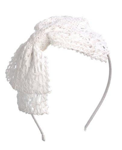 Girls Womens Big Crochet Headband Hairbow Hair Accessory (White)