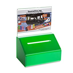 Source One Heavy Duty Donation / Ballot Box with Lock and Sign Holder (1 Pack, Green)