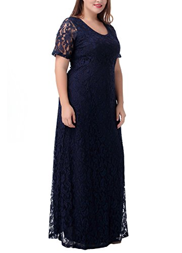 Nemidor Women's Full Lace Plus Size Elegant Wedding Pary Maxi Dress Blue 22W