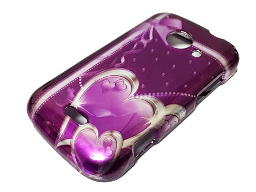 For ZTE Z667 Zinger Prelude 2 Whirl 2 Z667G Hard Phone Cover Hard Faceplate Case Accessories + Happy Face Phone Dust Plug (Purple Ribbon Heart) (Phone Cases For Model Z667g compare prices)