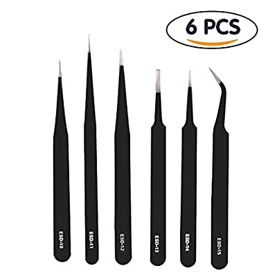 Shintop Anti-Static ESD Tweezers - Pointed Tweezers Anti-Magnetic, Anti-Acid Stainless Steel Tweezers Set for Laboratory Work, Electronics, Jewelry-Making (Pack of 6, Black)