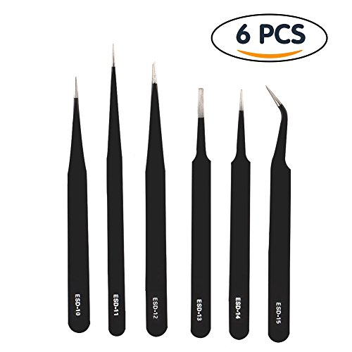 Shintop Anti-Static ESD Tweezers - Pointed Tweezers Anti-Magnetic, Anti-Acid Stainless Steel Tweezers Set for Laboratory Work, Electronics, Jewelry-Making (Pack of 6, Black) (Sharps Beading Needles Size 12 compare prices)