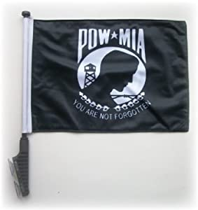 POW MIA Golf Cart Flag with SSP Flags EZ STICK On & Off Suction Cup Bracket