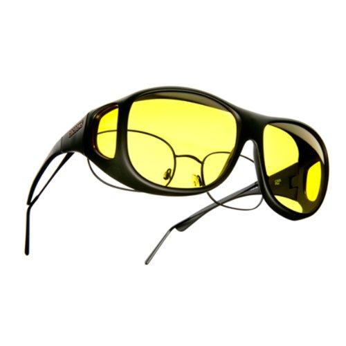 Cocoons Sunglasses: Fit Over Prescription Eyewear - Yellow Lens, Black Frame: Size Ml