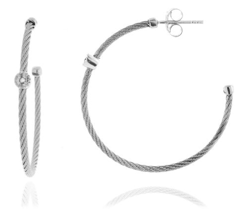 Sterling Silver and Stainless Steel Silver Toned Twisted Rope with Diamond Accents 1.5