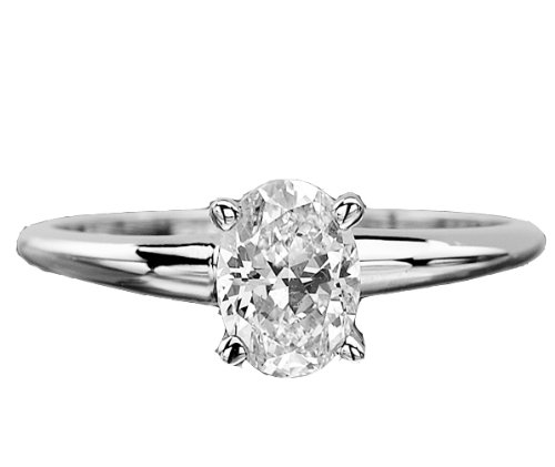 .50 CT F VVS2 OVAL DIAMOND SOLITAIRE 14K WHITE GOLD