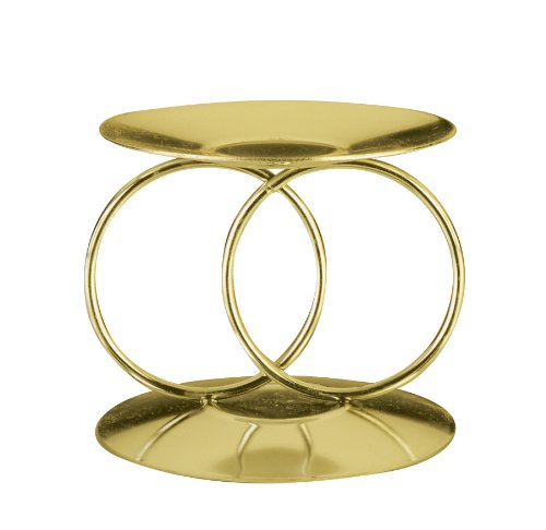 Weddingstar Double Ring Unity Candle and Taper Holders, Shiny Brass