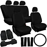 Oxgord 20pc Black PU Leather Seat Cover & 3pc Black Ridge Rubber Floor Mats Set for Nissan Cars