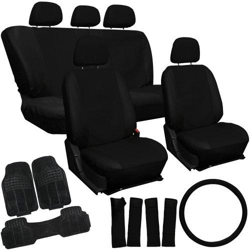 Oxgord 20Pc Black Pu Leather Seat Cover & 3Pc Black Ridge Rubber Floor Mats Set For Nissan Cars