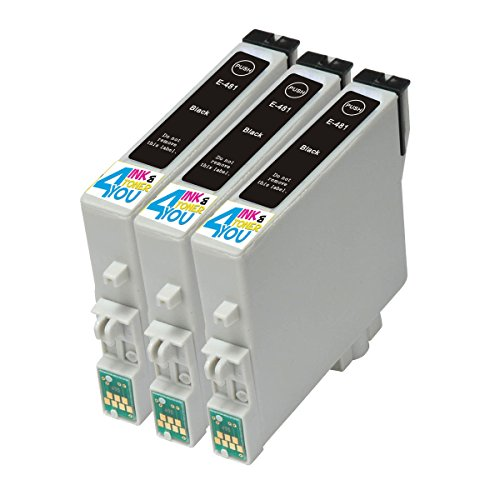 3 Pack - Remanufactured Ink Cartridges for Epson #48 T048 T048120 Inkjet Cartridge Compatible With Epson Stylus Photo R200 Stylus Photo R220 Stylus Photo R300 Stylus Photo R300M Stylus Photo R320 Stylus Photo R340 Stylus Photo R500 Stylus Photo R600 Stylus Photo RX500 Stylus Photo RX600 Stylus Photo RX620 (3 Black) Ink & Toner 4 You ®