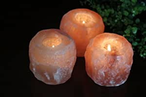 WBM 3002B Himalayan Light Natural Air Purifying Natural Crystal Salt 1 Tealight Candle Holder, 3-Pack