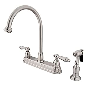 Kingston Brass Kb3758albs 8 Inch Center Kitchen Faucet With Side Sprayer Satin Nickel Touch