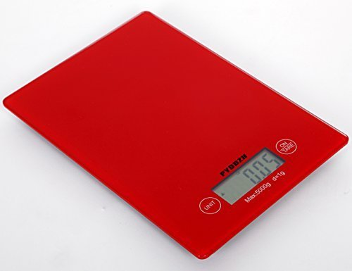 PYDDZH Kitchen Scale Electronic&Digital Type, Precision 5Kg*1G, Pro, Strength Tempered Glass Square-Red by EternalDo