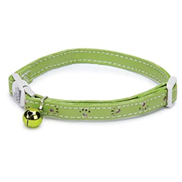 Savvy Tabby Sparkle Paw Cat Collar, Parrot Green