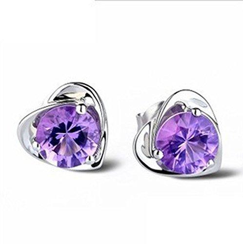 Lily Jewelry-Gioielli a forma di cuore con cristalli Swarovski, da donna, Placcato argento, colore: viola, cod. lily-549