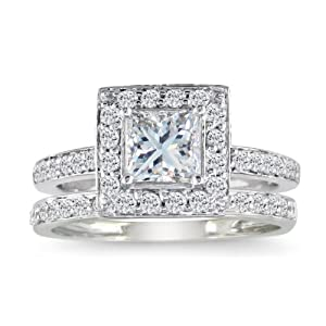 1/2ct Pave Princess Diamond Bridal Set in 14k White Gold, Ring Size 3.5 With Free Blitz Jewelry Cleaner