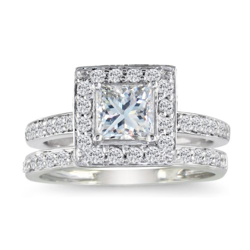 1/2ct Pave Princess Diamond Bridal Set in 14k