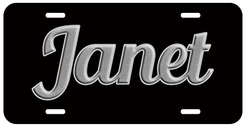 Personalized Name on License Plate - Black Grey Fancy Custom Auto Car Tag (Auto Car Tags compare prices)
