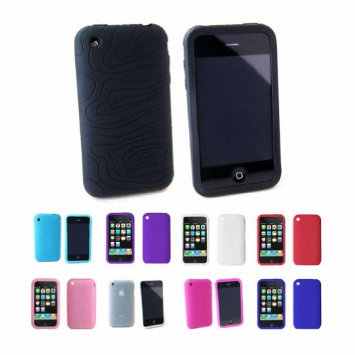 Apple iPhone 3G 3Gs 8GB 16GB 32GB Textured Silicone Skin Case Cover + Free Screen Protector, Black, One Size