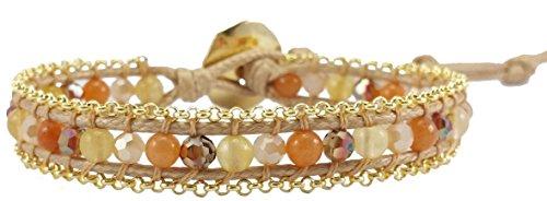 Orange Agate & Crystal Leather Wrap Bracelet , Single Wrap, 4mm/bead