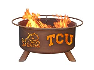 TCU Texas Christian Portable Steel Fire Pit Grill by Patina