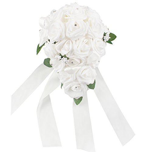 OurWarm® Teardrop Style Crystal Roses Pearl Bridal Bridesmaid Wedding Bouquet Artificial Silk Flowers White,1PCS
