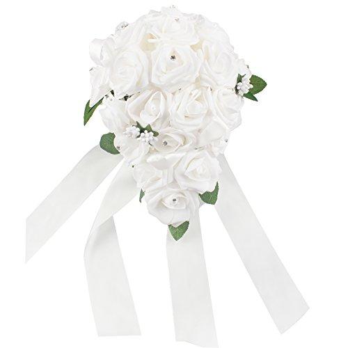 OurWarm® Teardrop Style Crystal Roses Pearl Bridal Bridesmaid Wedding Bouquet Artificial Silk Flowers White,1PCS