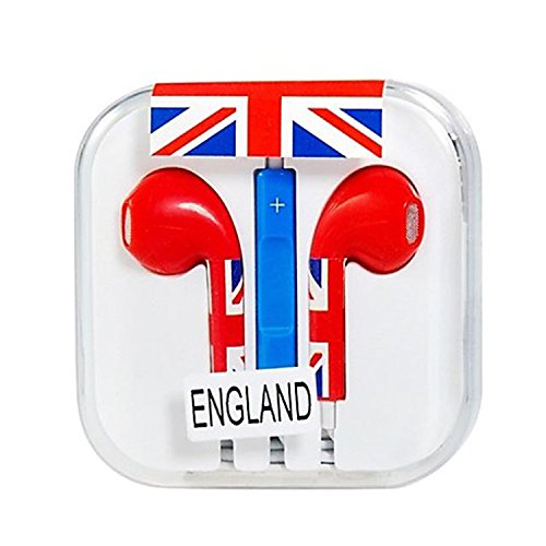Vamvaz Fashion World England Flag Design 3.5Mm Volume Controllable In-Ear Earphone With Microphone For Iphone 4 4G 4S 5 5S 5C Ipad 2 Mini 5 Air Ipod