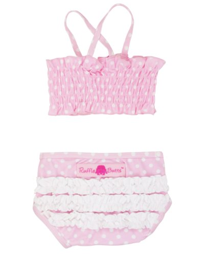 RuffleButts® Infant / Toddler Girls Ruched Ruffled Polka Dot Bikini - Pink - 18-24m