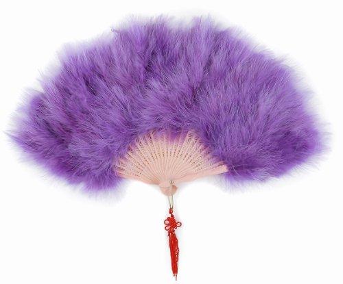 アクセントの飾り紐付 高級羽扇子 コスチューム用小物 紫 約30cm