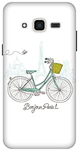 The Racoon White Bonjour Paris hard plastic printed back Case for Samsung Galaxy J3 (2016)