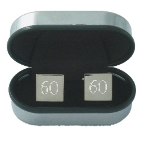 60th Birthday Age Cufflinks - Rhodium plated silver coloured square Cufflinks engraved by OFL with the number 60 and supplied in a chrome presentation case. Ideal 60th Birthday gift for men.