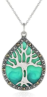 Sterling Silver, Marcasite, and Blue…