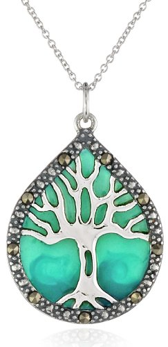Sterling Silver, Marcasite, and Blue Epoxy Tree of Life Pendant Necklace, 18