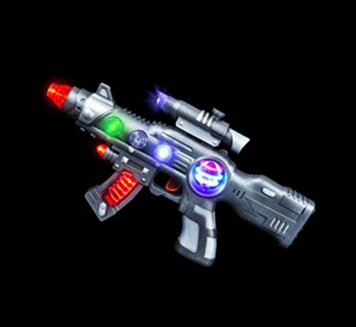 Super Light-Up Space Blaster Gun for Kids with Spinning Lights & Blasting Sounds - Play Kreative TM (Noise Gun compare prices)
