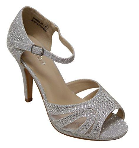 Bella Marie Shania-26 Women's peep toe rhinestone glitter strappy mesh dance sandals Silver 7.5