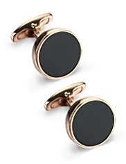 Rose Black Circle Cufflinks