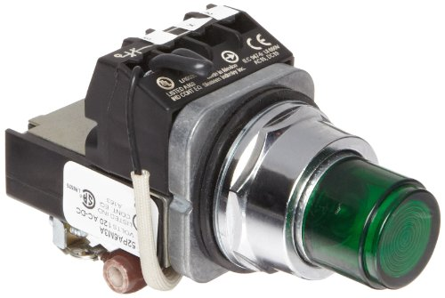 Siemens 52Pa6M3A Heavy Duty Push To Test Indicator Pilot Light, Incandescent Lamp, Water And Oil Tight, Plastic Lens, Resistor Type Ac/Dc, 24V 757 Type Lamp Or 24V Led, Green, 1Nc + 1No Contact Blocks, 120 Volts