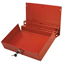 Sunex 8011 Large Locking Screwdriver and Prybar Holder for Service Cart, Red