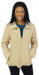 Jessica Simpson Women\'s Zip Front Quilted Jacket with Contrast Lining, Khaki, Small