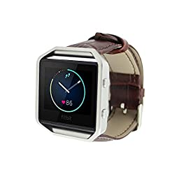 Eagwell Fitbit Blaze Accessory Band,For Fitbit Blaze Smart Fitness Watch, Crocodile Style Leather, Brown(5.5-7.1in)