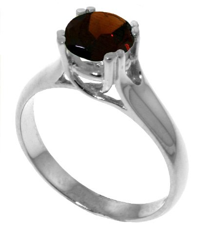 Genuine 1.1 Carat (ct, cttw, ctw) Round Garnet .925 Sterling Silver Solitaire Engagement Ring