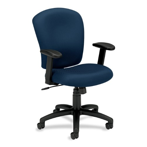 basyx by HON BSXVL220VA90 Mid Back Task Chair, VL220 Series, Padded T-Bar Arms, Navy
