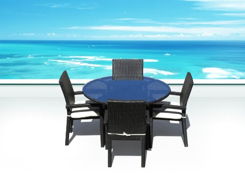 Outdoor PE Resin Wicker Patio Furniture All Weather Resin Round Dining Table Set & Chairs