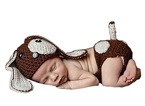 Pinbo Newborn Baby Photography Prop Crochet Knitted Dog Hat Diaper