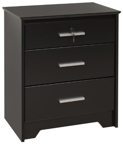 Prepac Black Coal Harbor 3 Drawer Tall and Wide